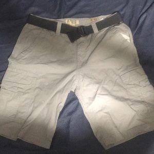 34 waist grey cargo shorts with belt